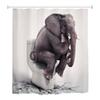 180 x 180cm 3D Shower Curtain High-definition Digitally Elephant Printed Thickened Polyester Shower Curtain 12 Hooks Waterproof
