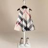 New Arrival Summer Girls Sleeveless Dress Hot Sale 5 Colors High Quality Cotton Baby Kids Big Plaid Dresses