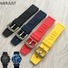 22mm 24 mm Black Silicone Rubber Watch Band Strap With Watches Thicken Buckle Belt Watch Accessories + Tools For