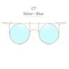 C7 Gümüş Kare Mavi Lens