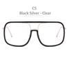 Siyah Gümüş Çerçeve Şeffaf Lens