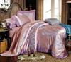 Pink gray modal silk bed linens jacquard flowers luxury bedding set lace comforter cover pillow cases bed sheet 4pcs set 5716