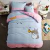 TUTUBIRD-4pcs totoro embroider print bedding set boys girls kids bed linen cartoon duvet cover bed sheet queen twin size