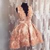 Sweet A Line Mini Homecoming Dresses Deep V Neck Sleeveless Appliques Beads Prom Gown Hand Flower Cocktail Dress