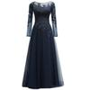 2018 Dark Navy Mother Of The Bride Dresses With Long Sleeves A-line Tulle Appliqued Lace Real Photo Sheer Wedding Party Gowns Formal Style