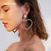 Peri'sBox Shiny Cubic Zirconia Large Hoops Earrings for Women Oversized Big Heart Earrings Luxury Clear Crystal Hoop