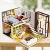 NEW Miniature Mini Size DollHouse Model Building Kits Wooden Furniture Toys Contracted City Style Gift toys Children Girlfriend