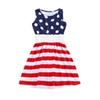4th of July Children Girls Dress Fashionable Striped Baby Girls Party Dresses Summer Kids Boutique Clothing Free Shipment