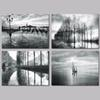 4 Piece Canvas Painting Black And White Nature Landscape Canvas Poster Print for living room home decoration no frame