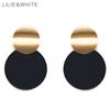 LILIE&WHITE 2018 Two Smooth Curve Twisted Disk Drop Earrings Gold Color And Black Plating Metal Earrings For Women Jewelry HC