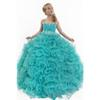New Elegant Ruffle Spaghetti Straps Ball Gown Flower Girls Dresses For Weddings 2019 Beads Crystal Girls Pageant Dresses Formal Wear Gowns