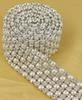 P6 1 Yard 6 Rows Diamond A Rhinestone and Pearl Banding Trim Ribbon For Wedding Cake Party Decoration