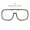 C4 Siyah Altın Çerçeve Şeffaf Lens