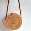 Women Straw Shoulder Bag Circle Handwoven Bali Round Retro Rattan Straw Beach Bag Crossbody Female Casual Phone Money Bags