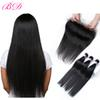 Ear To Ear Unprocessed Straight Virgin Hair 100% Indian Brazilian Malaysian Peruvian Human Hair 3 Bundles With Frontal Closure