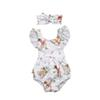 Baby boy girl INS triangle rompers 2018 new Children ins fawn pattern Flying sleeves rompers+hair band 2pcs sets baby clothes B001