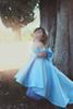2018 New Baby Blue Flower Girls Dresses Off Shoulder Big Bow Hi-Lo Satin Simple Princess Girls Pageant Dress For Kids Toddler Dress Custom