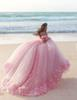 New Puffy 2019 Pink Wedding Gowns Princess Cinderella Formal Ball Gown Bridal Dress Long Train Off Shoulder 3D Flowers