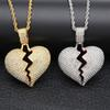 Iced out Broken Love Heart Pendant Necklaces Men's Bling Crystal rhinestone Love charm Gold Silver Twisted chain For women Hip hop Jewelry