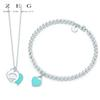 ZEG High Quality Original Round Bead Blue love Jewelry S Has Logo Women Jewelry Free Mail