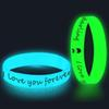 100pcs Customized Glow in the Dark Wristbands Luminous Bangles Printing Logo Text Wristband Bracelets Silicone ands Gift