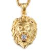 Mens Gold Silver Color 316L Stainless Steel Lion Head Pendant Necklace Rhinestone Inlaid with Link Chain VICHOK