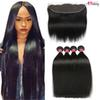 Mink Brazilian Straight Lace Frontal With Human Hair Bundles Silky Straight Human Hair Bundles With Ear to Ear Lace Frontal