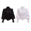 High Quality Vintage Victorian Gothic Black Blouse Lolita Style Romantic Shirt Tops Ruffles Reenactment for Women