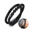 Men's Genuine Wrap Braided Leather Bracelet with Volcanic Lava Stone Beads Bracelets in Black Smart Magentic Clasp 17.3