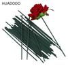 HUADODO 50pcs 13cm Flowers stem Dark Green wire artificial flower Head accessory for wedding decoration (size 2mm)