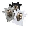 Fashion Europe and American Style Tassel Children Clothes INS Hot Sales Sequins Cartoon Owl Tops Free Shipment