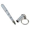 Keyring Telescoping Portable Thick Mini Retractable Pen Stainless Steel Metal Ballpoint Pen Note Keychain Blue Water