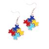 Popular Sparkling Multi-Colored Enamel Autism Hope Puzzle Piece Charm Pendent Earrings For Women Fashion Jewelry Gift