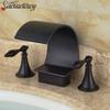 Oil Rubbed Bronze Bathroom Faucet Waterfall Vanity Sink Mixer Tap Brass Face Tap