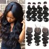 9A Malaysian Peruvian Indian Brazilian Virgin Body Wave Hair Weaves 3 OR 4 Bundles With Closure Human Hair Bundle With Lace Closure