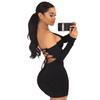 New Arrival Women Sexy Strapless Bandage Dress Long Sleeve Off Shoulder Lace Up Mini Dress Bodycon Backless Night Club Party Dresses DK586BK