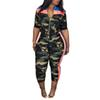 2 Piece Set Women Camouflage Top And Pants Two Piece Set Women Fitness Zipper Outfits For Summer Clothes Pants