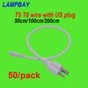 (50 Pack) Free Shipping US plug cable 50cm 100cm 200cm wires used for T5 T8 integrated tube lights