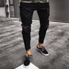 Men Jeans Stretch Destroyed Ripped Design Black Pencil Pants Slim Biker Trousers Hole Jeans Streetwear Swag Pants