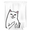 New Middle Finger Cat Shower Curtain Fashion Bath Shower Waterproof and Washable Fabric with Hooks