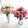 2pcs lot 7 Heads Bouquet Small Bud Roses Bract Simulation Flowers Silk Rose Decorative Flowers Home Decorations For Wedding