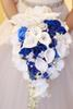 IFFO Royal Blue Bouquet, White Calla Lily Bridal Bouquet, Water Drops Waterfall Shape, Luxury Jewelry Bouquet Romantic Wedding