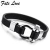 Trendy Jewelry Leather Bracelet Men Stainless Steel Brand Mens Jewellery Accessories Handmade Black Bracelets & Bangles Pulseras