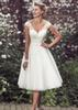 Elegant Tea Length Short Wedding Dresses Cap Sleeves Appliques Lace Wedding Gowns Tulle V Neck Short Bridal Gowns Cheap