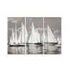 3Panel Print Abstract Black White Sailboat Seascape Oil Painting on Canvas Modern Landscape Poster Wall Picture for Living Room