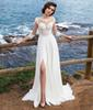 3 4 Long Sleeves Beach Bohemian Wedding Dresses 2019 Chiffon Scoop Neck Appliques Long Bridal Gowns With Side Split