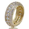 Men's Hip Hop 5 Rows Tennis Copper Cubic Zirconia Rings Pave Full Micro CZ Diamonds Ring Gold Silver Color Punk Party Jewelry