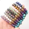 Wholesale 8X8MM Volcano Lapis Amethysts Quartz Labradorite Aventurine Round Beads Golden Buddha Stretchy Bracelet Bangle 7