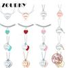 ZOUDKY 100% 925 Sterling Silver Necklace Pendant Fashion Heart Bead Chain Pendant Rose Gold and Gold Selection For Women Gift