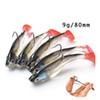 10pcs 3D Eyes Soft Lead Fishing Lure With T Tail Soft Fishing Lure Single Hooks Artificial bait Jig Wobblers Rubber 80mm 9g